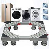 Grandekor Sockel für Waschmaschine verstellbar beweglicher Basis mit 4x2 Gummi-Räder und 8 Füßen, Waschmaschinen Untergestell für Trockner und Kühlschrank 50-75cm