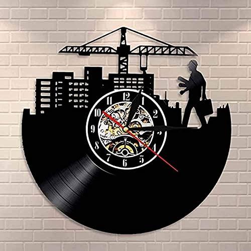 SHILLPS Reloj de Vinilo Retro de Arquitecto, Reloj de Pared de diseño de Ingeniero, Reloj de Pared para decoración del hogar, Reloj de Pared con Led