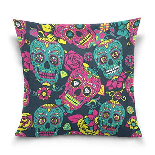 But why miss Throw Pillow Case Decorative Cushion Cover Square Pillowcase, Vintage Day of The Dead Floral Sugar Skull Sofa Bed Pillow Case Cover(18x18inch) Twin Sides