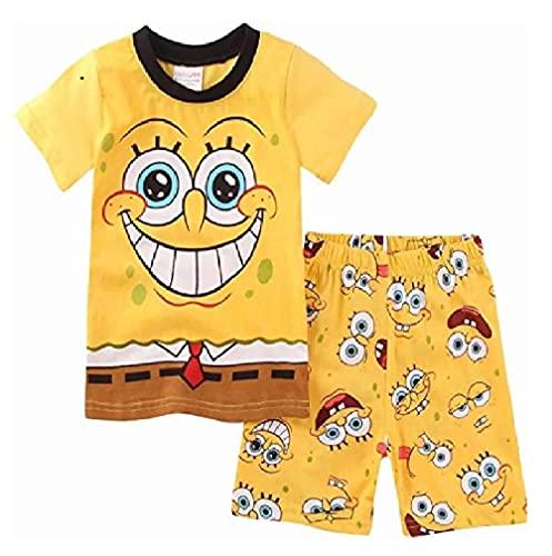 スポンジボブ Tシャツ パジャマ キッズ 子供服 ジュニア 上下セット 半袖 短パン 90-130cm 春夏 薄手綿100% プレゼント ギフト(130)