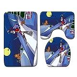 WEKUW Alfombra de Baño Set 3 Piezas Esquiando Santa Antideslizante Estera Pedestal Cubierta Asiento Inodoro Esteraalfombra de Baño Moquetas 45X75 Cm