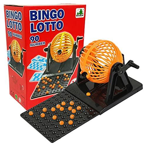 Bingo Lotería Compacto, Juego de Mesa Ideal para Niños y Mayores + 90 Bolas + 12 Cartones