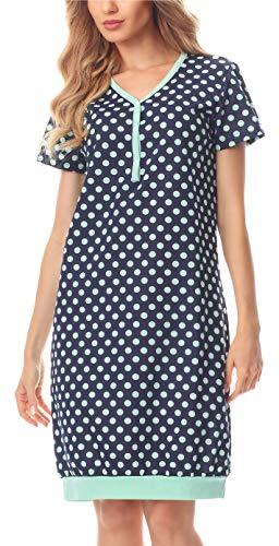 Merry Style Damska Koszula Nocna z Bawełny MS10-183 (CiemnyNiebieski/Kropki, S)