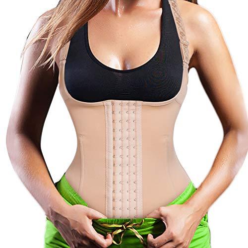 Bingrong Damen Miederbody Taillenformer stark formend Bodyshaper Unterbrust Shapewear Effekt flexibeler Körperformer mit verstellbar Träger und Haken-Ösen (Hautfarben, S)