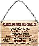 """Blechschilder Lustiger Spruch: """"Camping Regeln"""" Deko Schild Geschenkidee für Camping Fans 18x12 cm"""