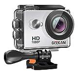 GeeKam Action Cam 1080P Full HD 30 m Unterwasserkamera 2 Zoll LCD 120 ° Weitwinkel-Sportkamera mit 1050mAh Akku und Zubehör-Kit Silver