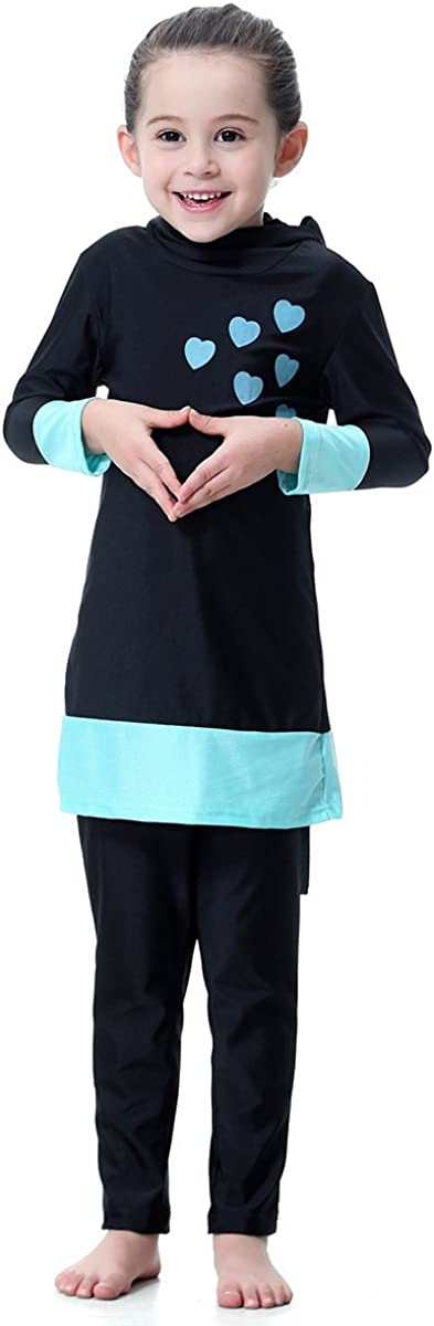 PUREZONE Girls Muslim Swimsuit Modest Swimwear for Kids Full Cover Hijab Burkini Athletic Bathing Suit Summer Beachwear