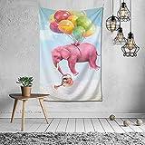 Tapiz de elefante rosa Fly Sky, tapiz para colgar en la pared, manta de pared, arte de pared para el hogar, sala de estar, dormitorio, decoración de fiesta