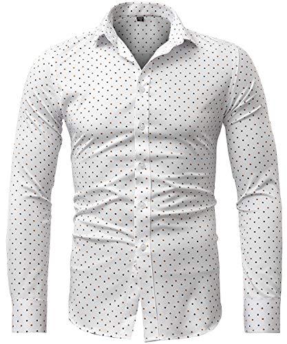 Harrms Camicia Elastica di bambù Fibra per Uomo, Slim Fit, Camicie da Cerimonia Manica Lunga, Viola Chiaro, 39 (Collo 39CM, Petto 100CM)
