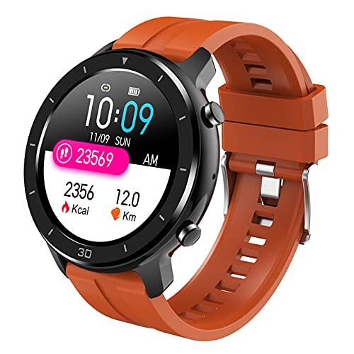 QFSLR Smartwatch Tracker Fitness Reloj Inteligente Deporte con Monitor De Frecuencia Cardíaca Llamada Bluetooth Monitor De Sueño Podómetro Monitores De Actividad,Naranja