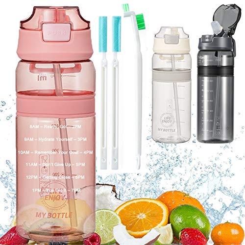 Botella con Pajita Botellas de agua para niños sin BPA Marcador de Tiempo Motivacional y Cepillo de Limpieza, para Gimnasio Ciclismo Trekking Reutilizable Tapa Abatible de 1 Clic 550ml Rosado