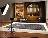 YongFoto 3x2m Fondos Fotograficos Estante para Libros Biblioteca Europeo Libros Estilo Velas Arch Window Moon Noche Interior Fondos para Fotografia Fiesta Boda Retrato Estudio Fotográfico Accesorios