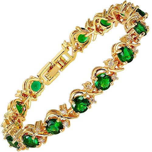 Rizilia Flor Tenis Pulsera [18cm/7inch] con Corte Redondo Piedras Preciosas Circonita CZ [Esmeralda Verde] en 18K Chapado en Oro Amarillo, Elegancia Moderna Sencillo