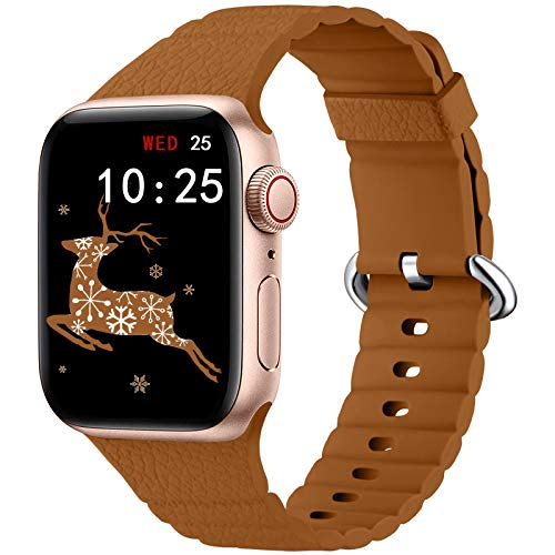 Oielai Silicona Correa Compatible con Apple Watch Correa 40mm 44mm 38mm 42mm, Pulsera de Repuesto Suave Correas Deportivas Compatibles con Apple Watch Series 6/5/SE/4/3/2/1, 42mm/44mm Marrón