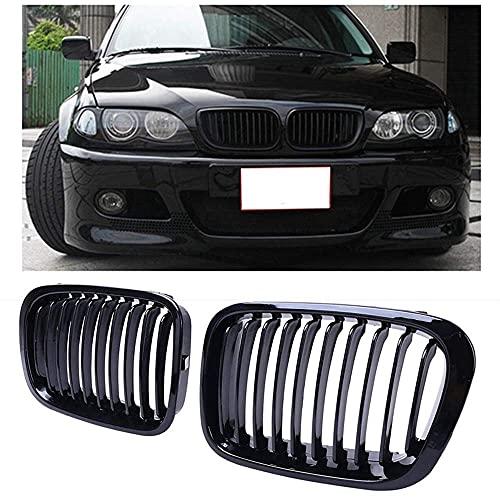 ERBV Rejilla de radiador Compatible con Rejilla Frontal de riñón, para BMW E46 3 Series 320I 325I 325Xi 323I 328I 330I 4D 4 Puertas 1998-2001 Negro Brillante 51138208489 5