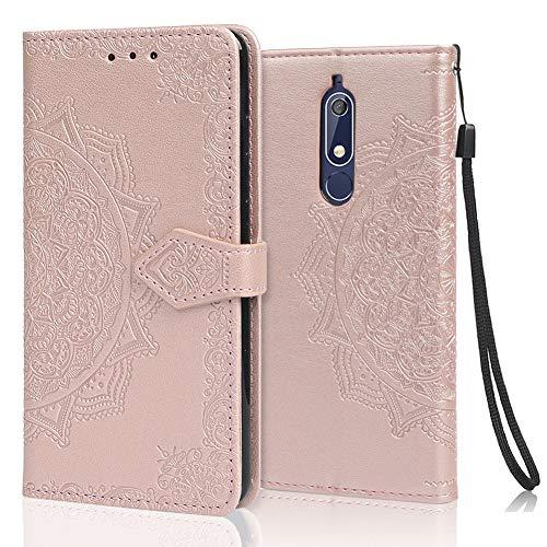 achoTREE Cover Nokia 5.1, Flip Caso in Premium TPU Portafoglio Custodia per Nokia 5.1, con Slot per Schede & Chiusura Magnetica - Oro Rosa