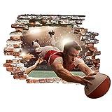 Bilderwelten Sticker Mural 3D - Rugby Action - Large 3:4, Tatouage Mural Tatouages muraux Sticker Mural 3D, Dimension: 75cm x 100cm