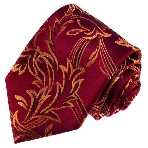Lorenzo Cana - Marken Krawatte aus 100{769b0d76d1aac4b40c418618a951e6ce854707090e3c80f44def00a8068643d2} Seide - Gefertigt in unserer Manufaktur - Rotbraun Rot Gold Ranken - 84377