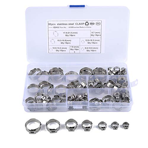 Size 1-1//8 28.6 mm 100 Single Ear Hose Clamps 7 Pack Sizes Available Oetiker Stepless Ear Clamps