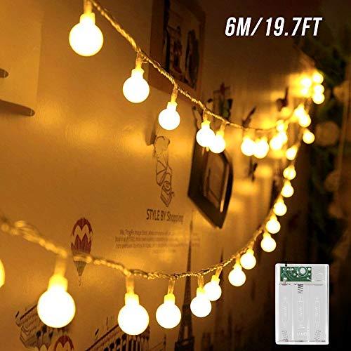 Led Kugel Lichterkette, Zorara 6M 40 LEDs Globe Lichterketten Batteriebetrieben Weihnachten Drahtlichterkette Innen Außen für Zimmer Balkon Party Hochzeit Kinderzimmer Weihnachtsbaum (Warmweiß, 6M)
