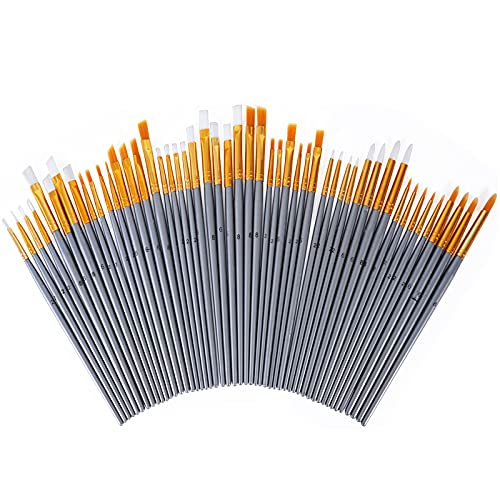 conda 50 Pcs Paint Brushes Bulk Pack Assorted Nylon Hair Round Pointed Tip for Acrylic, Oil, Watercolors,Face Nail Art