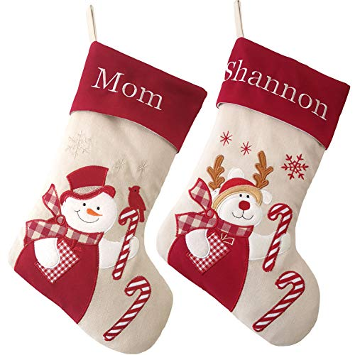 WEWILL Set of 2 Personalized Christmas Stockings Home Decorations Stockings for Family (Color 3)