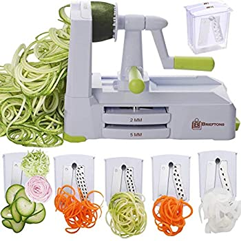 Brieftons 5-Blade Spiralizer  BR-5B-02   Strongest-and-Heaviest Duty Vegetable Spiral Slicer Best Veggie Pasta Spaghetti Maker for Low Carb/Paleo/Gluten-Free With Extra Blade Caddy & 4 Recipe Ebooks