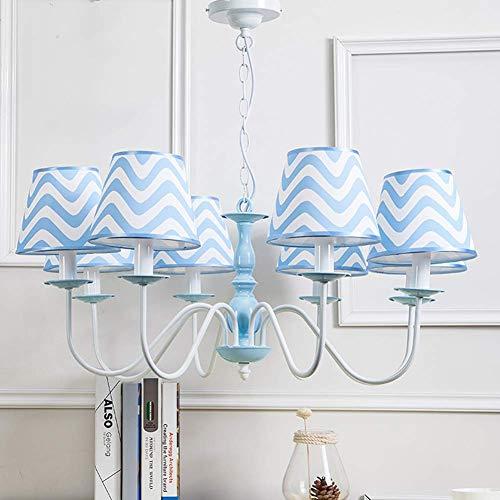 Plafondlamp voor kinderen, met lampenkap van stof, gestreept, blauw, onmisbaar voor slaapkamer, baby, jongens, E14 (A++) familie 8 Têtes E14 * 8