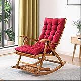 Tumbona de bambú plegable mecedora reclinable ajustable Jardín Solarium con el Consejo Escabel y...