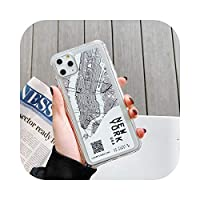 Seggw iPhone 11 12 Pro Max 6 7 8 Plus X XR XSMaxスケッチレタークリアソフトシリコンカバーケース専用シティマップ電話ケース-NEW YORK-for iPhone 6