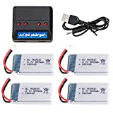 ZZBAT 3.7V 800mAh lipo Battery with Charger for X5C X5SC X5SW X5C-1 X5SC-1 Cx-30 Cx-31 RC Drone Quadcopter Spare Bettery Parts-Burgundy