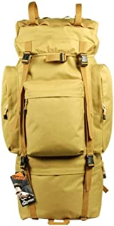 ACSH Tactical Backpack, Outdoor Travel Hiking Backpack, Waterproof Oxford with Velcro Army Fan Tactical Travel Rucksack, 100L Mud Color (Color : Mud Color)
