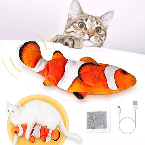Simulations Fisch Elektrisch, Elektrische Plüsch Fisch mit Katzenminze, USB Aufladbar Flippity Fisch, Katzenspielzeug Fisch, Elektrisch Kauen Spielzeug für Katzen, Katze Interaktive Spielzeug