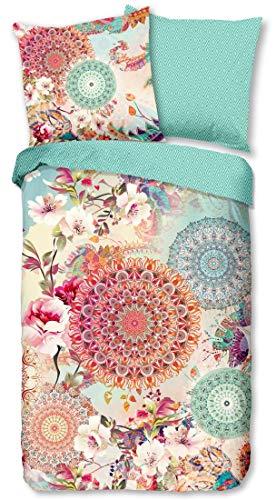 HIP Biber Wende-Bettwäsche Nandini 6331 kuschelweiches Bettwäsche-Set Reine Baumwolle Mandalas und Blumen in warmen Pastellfarben 135 cm x 200 cm Mint-Creme-bunt