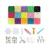 Gwotfy Abalorios Cuentas de Agua 2500 Perlas 15 Colors Fusible Beads Kit, Perlas de Agua Niños DIY Educativos Artesanía Kit Beados Recambios
