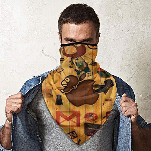 Angela R Mathews Cartoon SpongeBob Schwammkopf Schlümpfe Maske Kopfbedeckung Multifunktionales Bandana für Schal Kopfbedeckung, UV-Schutz vor Sonne und Staub, winddicht, Kopfband, Halstuch, Bandana
