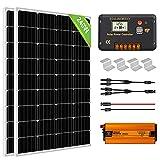 ECO-WORTHY 1kW·h Sistema de Paneles Solares con Inversor 240W 12V Kit Solar para Casa Caravana Fuera de la Red: 2 Paneles Solares de 120W + Controlador de carga de 20A + Inversor 600W