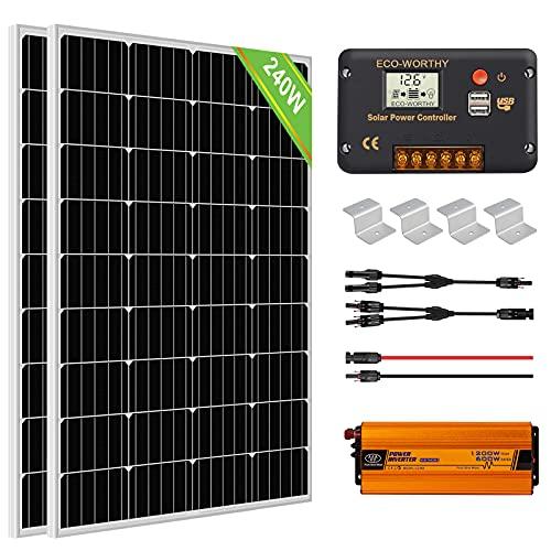 ECO-WORTHY 1kW·h Kit Onduleur Solaire 240W 12V pour RV/Maison/Système Hors Réseau: 2 Panneaux Solaires 120W + 1 Contrôleur de Charge 20A + Onduleur 600W 12V+ Accessoires de Montage