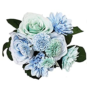 BECOR Fake Flowers Bouquet Artificial Silk Rose Carnation Plant with Leaves for Wedding Home Party Table Decor, 10 Flowers Per Bunch, 8 Stems Per Pack, Blue & Teal