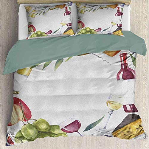 Wine Quilt Cover PillowcaseRound Frame with Hand Painted Food Objects Watercolor Wine Cheese Fruits Collection Duvet Cover Set & Pillowcase Multicolor Queen Size