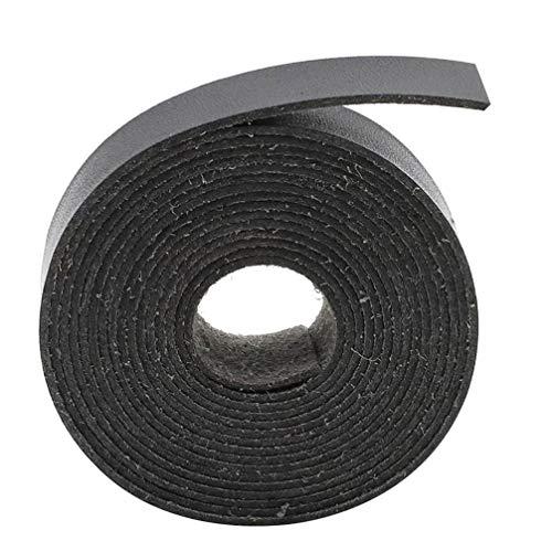 HEALLILY Correa de Cuero Negro Tiras de Cuero de 2 M para Cinturones Cuerda de Trenzado de Cordón Grueso para Taller de Herramientas Artesanales Suministros de Fabricación de Bolsos Hechos a Mano