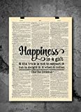 Charles Dickens Happiness Gift - Famous Writer Quote Art - Vintage Dictionary Print 8x10 Home Vintage Art Prints Motivational Wall Art for Home Decor Wall Decorations Victorian Art | Print Only