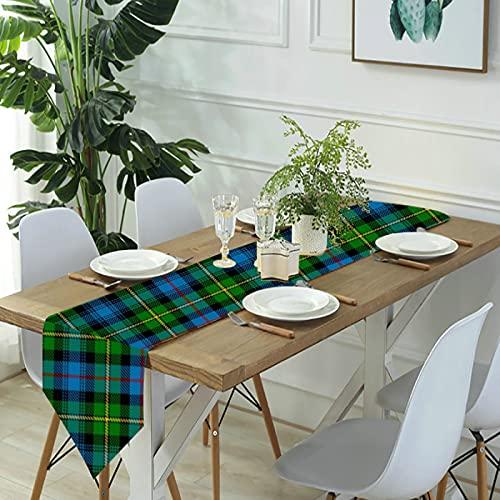 Reebos Camino de mesa de lino para aparador, bufandas Macleod of Skye Tartan camino de mesa de cocina para cenas de granja, fiestas de vacaciones, bodas, eventos, decoración, 33 x 70 pulgadas