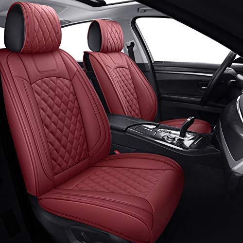 Aierxuan Car Seat Covers Full Set Waterproof Faux Leather Cushion Universal Fit for Fusion Chr 4 Runner Venza Elantra CRV Accent Kona Crosstrek Azera Sorento Loniq Clarity Sentra (Full Set/Burgundy)