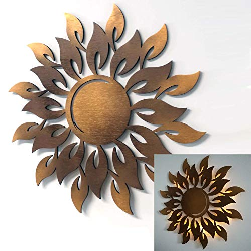 kh Teile Wanddeko Sonne Holz 3D Kupfer Wandbild Innen Außen Garten Geschenk Idee Wandschmuck Wand Deko Dekoration (optional mit Led Licht)