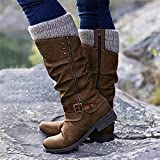 Motorcycle Boots Winter Snow Boots for Women, Womens Sweater Knitted Trim Belt Buckle Flat Chunky Heels Mid Calf Boots, Slip On Cowboy Boots Women Platform Boots Hiking Booties Shoes (Brown, 10)