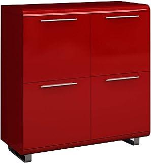 Design Vicenza Ozieri - Aparador pequeño (4 puertas acabado brillante) color rojo