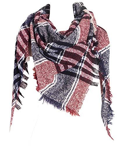 Wander Agio Womens Warm Scarf Triangle Shawls Scarves Stripe Plaid Fichu Rough Plaid Wine Red 15