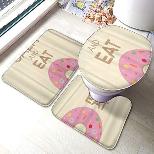PANILUR 3 Unidades Antideslizante Juego de Alfombras para,Colorida panadería de donas Palabras Mantener la Calma y Comer,Alfombras Suave Agua Absorbente WC Cuarto de Baño Alfombra Antideslizante
