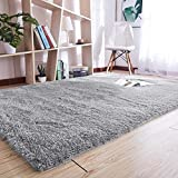 YJ.GWL Super Soft Indoor Area Rug Modern Shaggy Carpet Silky Fluffy Anti-Skid Fur Rug Blanket for Bedroom Living Room Kids Decor Floor Sitting Room Grey 120x160 cm, Christmas Rug Thanksgiving
